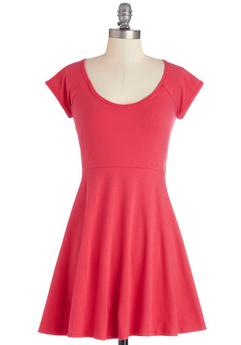 Boundlessly Styled Dress - Solid, Cutout, Casual, A-line, Cap Sleeves, Summer, Woven, Good, Scoop, Cotton, Short, Pink