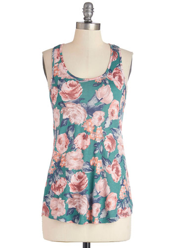 Spring Flowers Top in Teal - Blue, Sleeveless, Knit, Mid-length, Pink, Floral, Casual, Tank top (2 thick straps), Racerback, Spring, Summer, Blue, Scoop