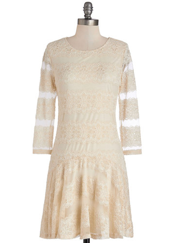 Bring the Poise Dress - Short, Cream, Solid, Lace, Party, Daytime Party, A-line, Long Sleeve, Good