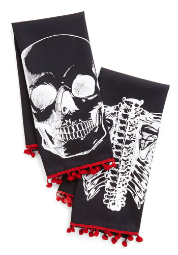 Bad to the Bone Dry Tea Towel Set - Black, Red, White, Novelty Print, Halloween, Cotton, Woven, Guys, Top Rated, Skulls