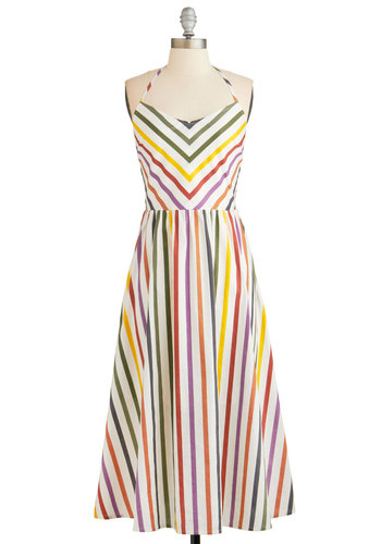 Some Flair Over the Rainbow Dress by BB Dakota - Multi, Stripes, Casual, A-line, Halter, Better, Exclusives, Summer, Woven, Sundress, Cotton, Long, Chevron