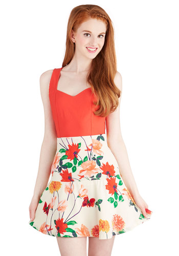 Morning Matinee Skirt by BB Dakota - Better, White, Short, Floral, Cream, Daytime Party, Darling, A-line, Spring, Summer, High Waist, Good
