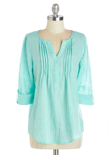 Beach Bliss Top - Woven, Mid-length, Blue, Solid, Casual, Beach/Resort, Spring, Summer, Blue, Tab Sleeve, 3/4 Sleeve, Good