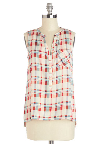 S'mores on the Sand Top - Mid-length, Multi, Red, Blue, White, Buttons, Pockets, Casual, Sleeveless, Spring, Summer, Multi, Sleeveless, Plaid, Good
