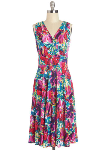 Weekend Getaway Dress - Multi, Floral, Casual, A-line, Sleeveless, Summer, Better, V Neck, Knit, Beach/Resort, Long
