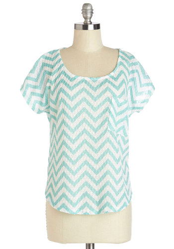 Happily Ever Aqua Top - Blue, Short Sleeve, Mid-length, White, Chevron, Casual, Short Sleeves, Spring, Summer, Blue, Pockets, Scoop, Good