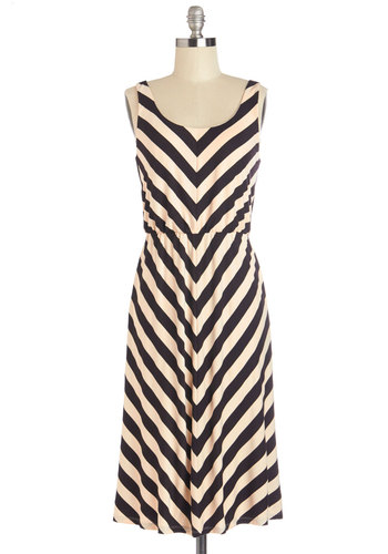 Quiet of the Night Dress in Black - Knit, Long, Tan / Cream, Black, Chevron, A-line, Tank top (2 thick straps), Better, Casual, Variation