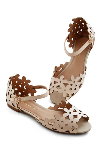 Prancing Through the Petals Sandal in Beige - Tan, Solid, Cutout, Casual, Daytime Party, Spring, Better, Faux Leather
