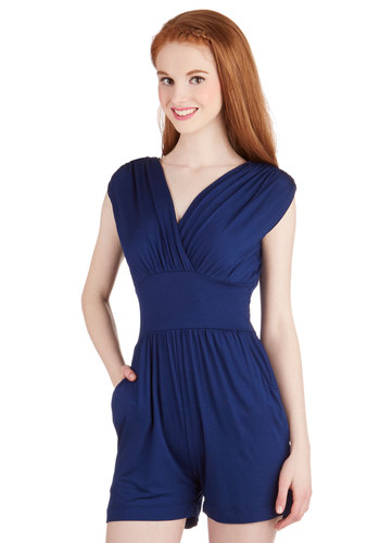Belle of the Boardwalk Romper - Summer, Good, V Neck, Blue, Short Sleeve, Non-Denim, Romper, Knit, Long, Blue, Solid, Pockets, Ruching, Casual, Beach/Resort, Nautical, Minimal, Spring