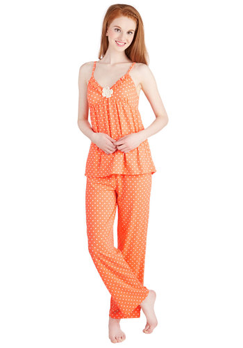 Late Night Fruit Snack Pajamas - Knit, Orange, White, Polka Dots, Flower, Ruffles, Casual, Spaghetti Straps
