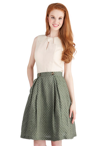 Twirl's Night Out Skirt - Good, Green, Green, Polka Dots, Pleats, Pockets, Casual, Folk Art, Spring, High Waist, Full, Mid-length