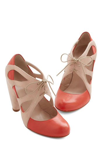 Dancing in the Park Heel - Coral, Tan / Cream, Solid, Cutout, Prom, Wedding, Daytime Party, Lace Up, Mid, Leather, Vintage Inspired, 20s, 30s