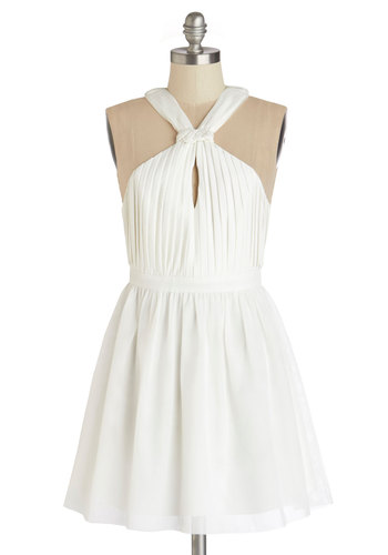 Best Date Ever Dress - White, Solid, Pleats, Party, A-line, Sleeveless, Summer, Woven, Better, Halter, Mid-length