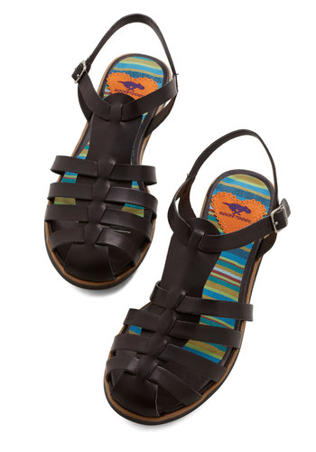 Skip Around the Block Sandal - Flat, Faux Leather, Black, Solid, Casual, Summer, Better