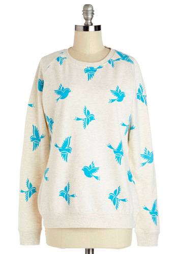 Bluebirds of a Feather Sweatshirt by Sugarhill Boutique - Mid-length, Knit, Blue, Print with Animals, Casual, Long Sleeve, Spring, International Designer, White, Long Sleeve, Cream, Critters, Crew