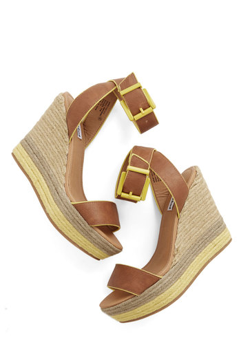 Platform and Function Wedge - High, Faux Leather, Mixed Media, Wedge, Tan, Solid, Daytime Party, Beach/Resort, Spring, Summer, Espadrille, Platform