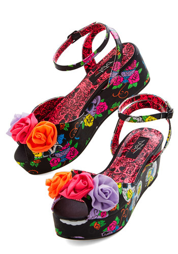 Sweet Locomotion Wedge - Faux Leather, Mixed Media, Wedge, Mid, Flower, Spring, Summer, Multi, Black, Floral, Novelty Print, Rockabilly, Skulls, Platform