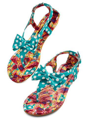 Traverse Impressions Sandal - Flat, Faux Leather, Blue, White, Polka Dots, Bows, Daytime Party, Good, Summer
