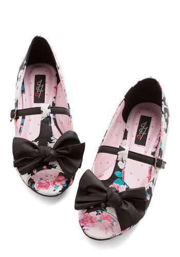 Show Me the Bunny Ballet Flat - Flat, Faux Leather, Multi, Black, Print with Animals, Bows, Casual, Daytime Party, Peep Toe, T-Strap, Quirky