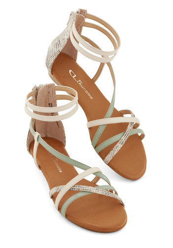 Mist You More Sandal - Low, Faux Leather, Multi, Tan / Cream, Silver, Mint, Summer, Strappy, Animal Print, Better