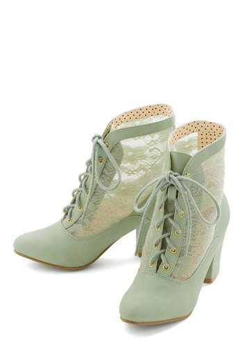 Lace Against Time Bootie in Mint by Bait Footwear - Mid, Faux Leather, Lace, Mint, Solid, Lace, Pastel, French / Victorian, Lace Up, Variation, Better, Top Rated