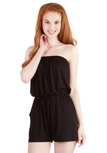 Time to Play Romper - Good, Black, Non-Denim, Romper, Knit, Long, Black, Solid, Pockets, Belted, Casual, Beach/Resort, Strapless, 70s, 90s, Minimal, Spring, Summer