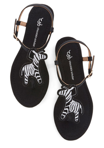 Into the Wildlife Sandal - Flat, Woven, Black, White, Print with Animals, Beach/Resort, Critters, Summer, Better