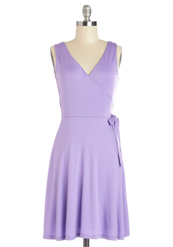 Crocus Charisma Dress - Purple, Solid, Casual, Wrap, Sleeveless, Summer, Knit, Good, V Neck, Jersey, Pastel, WPI, Mid-length