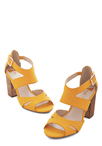 Soak in the Sunshine Heel - Mid, Faux Leather, Yellow, Solid, Cutout, Cocktail, Daytime Party, Beach/Resort, Spring, Summer, Chunky heel, Strappy, Social Placements