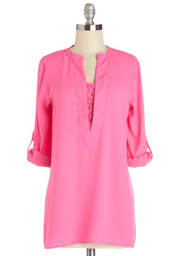 One Cannoli Hope Tunic in Pink - Pink, Tab Sleeve, Long, Pink, Solid, Long Sleeve, Spring, Variation, Lace, Maternity