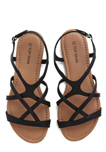 Strappy to Help Sandal - Flat, Faux Leather, Black, Solid, Good, Strappy, Casual, Festival, Summer, Boho