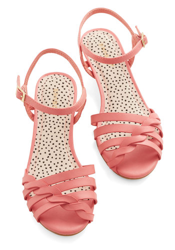 Better Plait than Never Sandal in Pink - Low, Faux Leather, Pink, Solid, Daytime Party, Summer, Variation, Braided, Good