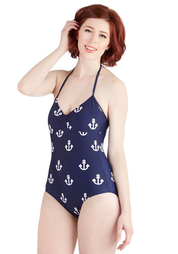 Anchor Me This One-Piece Swimsuit by Kling - Blue, Novelty Print, Beach/Resort, Nautical, Summer, Halter, White