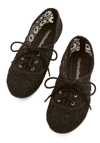 Chasing Shadows Flat - Woven, Black, Solid, Casual, Spring, Summer, Lace Up, Crochet