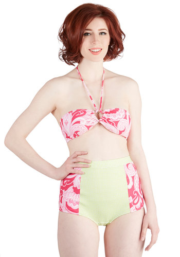 Panoramic Picture Two-Piece Swimsuit - Knit, Multi, Green, Pink, Checkered / Gingham, Paisley, Beach/Resort, High Waist, Summer, Exclusives