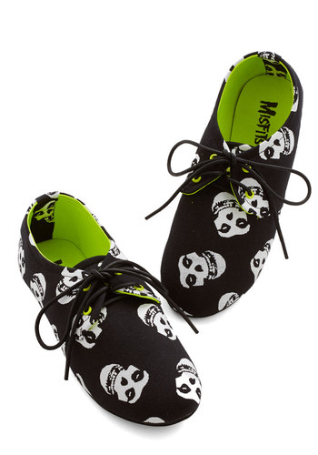 If the Shoe Misfits Flat - Flat, Woven, Black, White, Novelty Print, Casual, Halloween, Lace Up, Music, Skulls