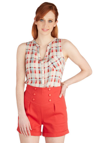 Very Mari-Timeless Shorts - High Waist, Good, Non-Denim, Short, Cotton, Red, Solid, Buttons, Casual, Nautical, Americana, Spring, Summer, Ultra High Rise, Red, Pleats
