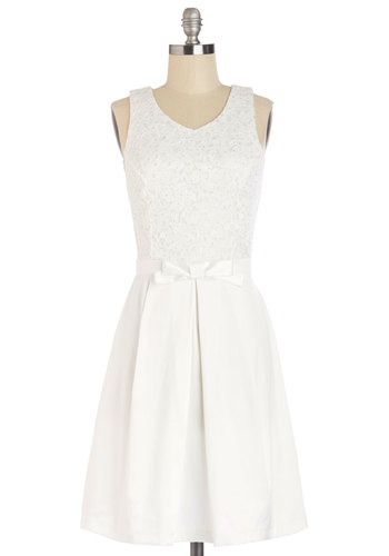 Entrance of Elegance Dress in White - White, Bows, Special Occasion, Prom, A-line, Sleeveless, Good, V Neck, Woven, Mixed Media, Lace, Mid-length, Lace, Glitter, Graduation