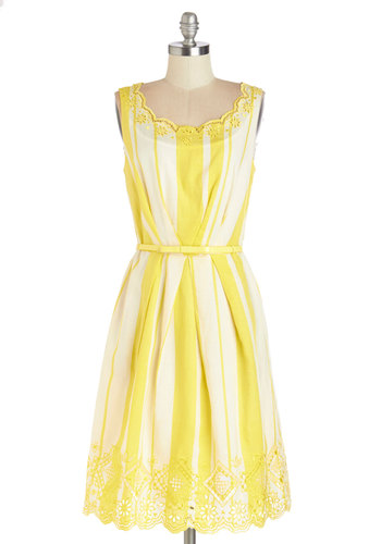 All Bright, All Bright, All Bright Dress - Yellow, White, Stripes, Eyelet, Belted, Daytime Party, A-line, Sleeveless, Better, Woven, Summer, Long