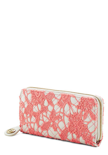 Pretty Purchases Wallet by Darling - Coral, White, Solid, Lace, Travel, International Designer, Woven, Lace, Crochet, Gals