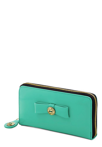 Poise Night Out Wallet by Darling - Gold, Solid, Bows, Travel, International Designer, Faux Leather, Green, Green, Gals