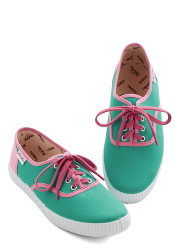 Super-bright Future Sneaker - Flat, Woven, Green, Pink, Trim, Casual, Lace Up, Summer