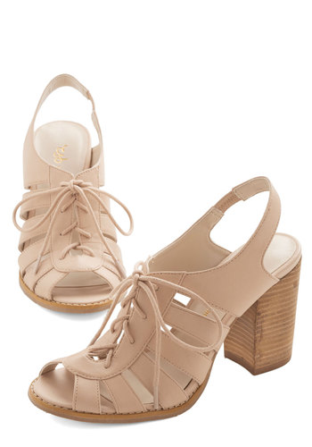 Morning, Swoon, and Night Heel in Sand - Mid, Faux Leather, Tan, Solid, Cutout, Casual, Daytime Party, Beach/Resort, Spring, Summer, Lace Up, Chunky heel, Variation