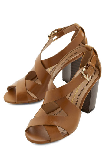 Midsummer Eve Rendezvous Heel - Mid, Faux Leather, Brown, Solid, Cutout, Girls Night Out, Daytime Party, Beach/Resort, Spring, Summer, Chunky heel