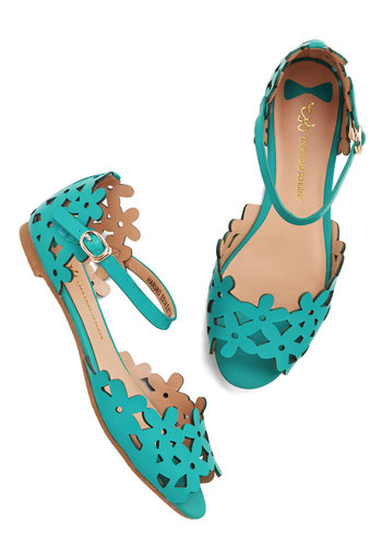 Prancing Through the Petals Sandal in Teal - Flat, Faux Leather, Blue, Solid, Cutout, Daytime Party, Summer, Variation