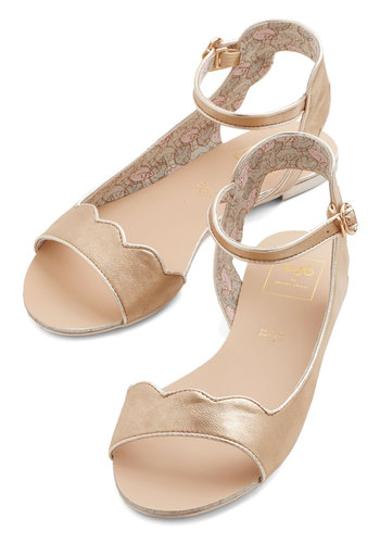 Believe It or Haute Sandal - Flat, Gold, Solid, Scallops, Daytime Party, Spring, Summer