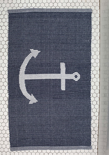 Ahoy There, Matey Rug - 2x3 - Cotton, Woven, Blue, Nautical, Good, White, Novelty Print, Graduation, Summer