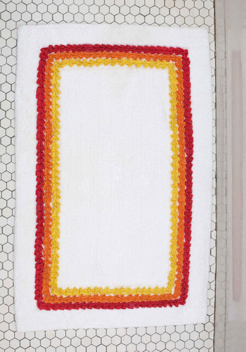 Up Bright and Early Bathmat - Cotton, Woven, 70s, Good, White, Red, Orange, Yellow, Ruffles, Vintage Inspired