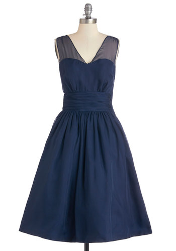 Professionally Posh Dress in Navy - Long, Blue, Solid, Special Occasion, Prom, Wedding, Bridesmaid, Fit & Flare, Sleeveless, Better, V Neck, Exclusives, Pockets, Full-Size Run