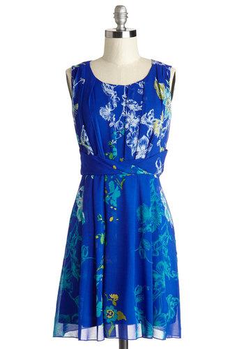 Sound of Spectacular Dress - Blue, Floral, A-line, Sleeveless, Better, Scoop, Short, Woven, Daytime Party, Graduation, Beach/Resort